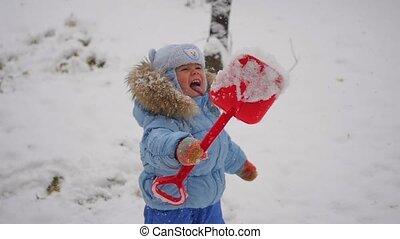 prises, slowmotion, bouche, flocons neige, enfant