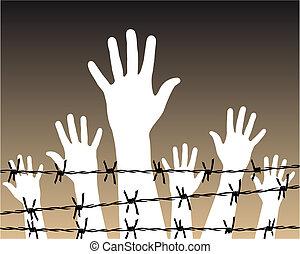 prison, fil fer barbelé, derrière, mains