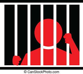 prison, illustration, homme