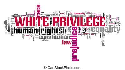 privilège, nuage, blanc, mot