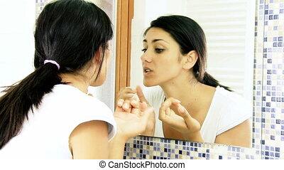 problème, acné, girl, peau