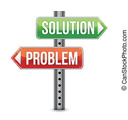 problème, illustra, solution, panneaux signalisations