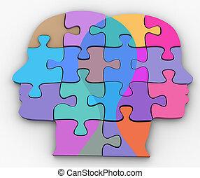 problème, puzzle, femme homme, couple, faces