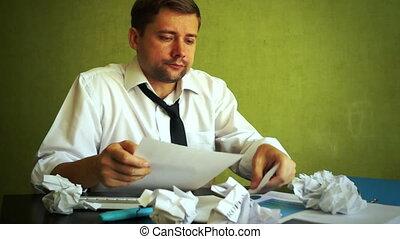 problèmes, business., surcharge, comptable, frustration., homme affaires, ou