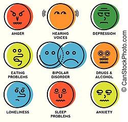 problèmes, mental, icônes, santé