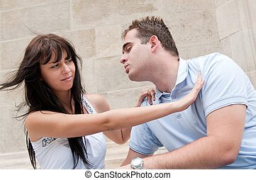 problèmes relation, couple, -, jeune, dehors