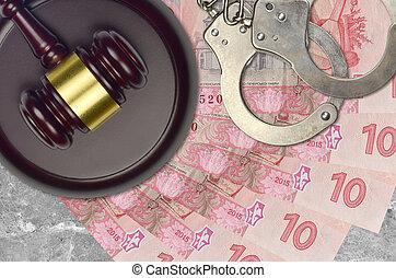 procès, concept, menottes, bribery., marteau, 10, ou, desk., factures, impôt, tribunal, action éviter, ukrainien, hryvnias, police, judiciaire, juge