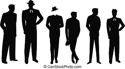 procès, hommes, silhouette, retro
