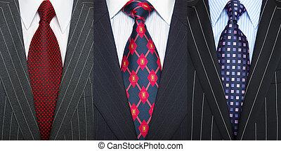 procès, pinstripe, cravates