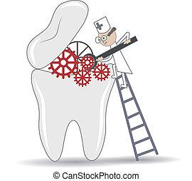 procédure, dentaire, illustration, dent, traitement, conceptuel, résumé