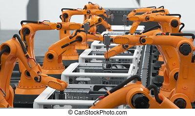 process., fait boucle, business, convoyeur, animation., moderne, bras, 4k, ultra, automatisé, montage, hd, lot, robotique, ordinateurs, belt., technologie avancée, concept., 3840x2160., 3d