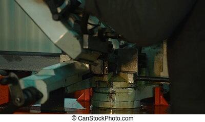 processus, industriel, découpage, métal, usinage