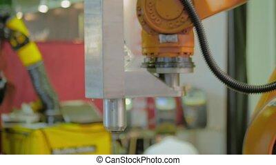processus, industriel, manipulateur, orange, démontre, bras, robotique, fonctionnement