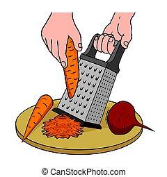 processus, légumes, râpe, cuisine, grille