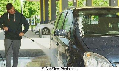 processus, libre-service, lavage, voiture, wash.