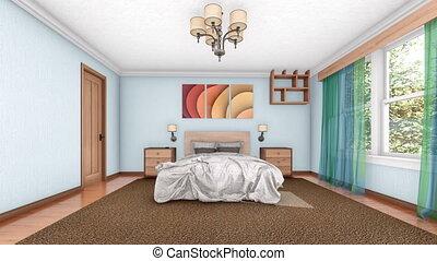 processus, moderne, ameublement, chambre à coucher, intérieur, 4k