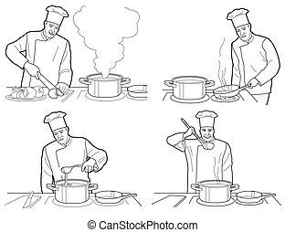 processus, noir, intérieur, fond, chef cuistot, table, vecteur, figures, cuisine, cuisine, illustration., restaurant, blanc