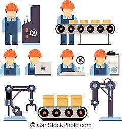 processus, production, vecteur, illustration