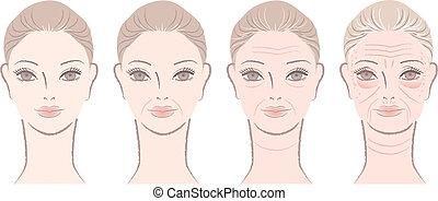 processus, vieillissement, belle femme