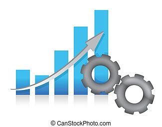 production, graphique barre, illustration