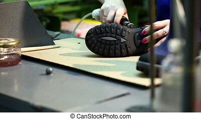 production, traitement, étape, bottes, plancher