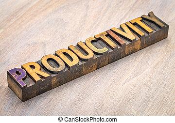 productivité, résumé, bois, mot, type