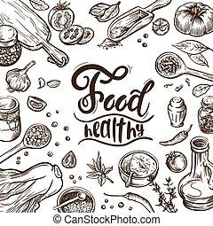 products., naturel, process., couleur, cuisine poissons, illustration