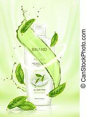 produit, éléments, feuilles thé, voler, eau, éclaboussure, vert, soin peau