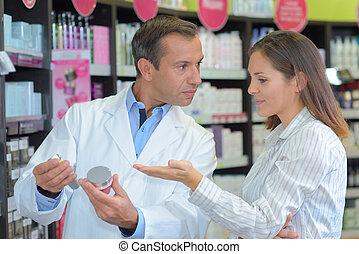 produit, business, projection, client, healthcare, sourire, pharmacien