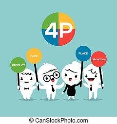 produit, concept, business, commercialisation, coût, 4p, mélange, endroit, illustration, promotion, dessin animé