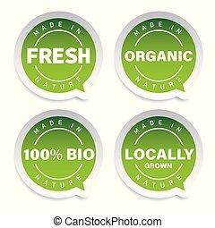 produit, ensemble, organique, étiquette