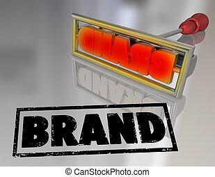 produit, mot, fer, marquer, marque, propriété, commercialisation