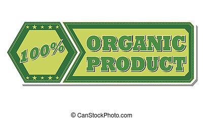 produit, organique, pourcentages, -, étiquette, vert, retro, 100