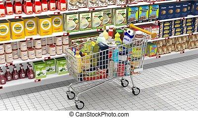 produits, achats, divers, charrette, intérieur, supermarché