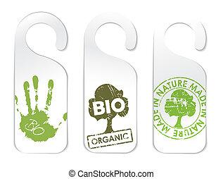 produits, ensemble, organique, trois, étiquettes