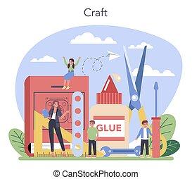 prof, école, tenue, étudiant, apprentissage, art, education., tools.