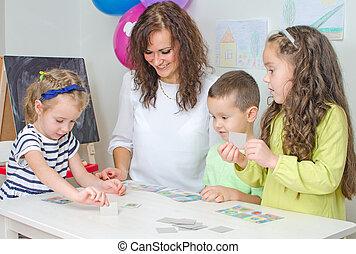 prof, jeux, enfants, kindergarten.
