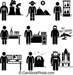prof, scientifique, travaux, occupation