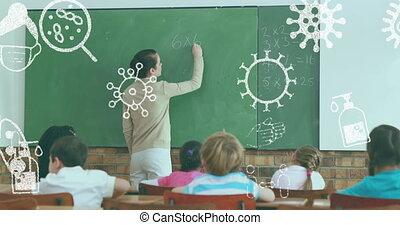 professeur classe, enseignement, concept, contre, icônes, coronavirus, femme