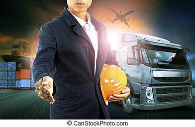professinal, industrie, commercial, business, logistique, avion, transport camion, port, import-export, homme, récipient, fret, cargaison