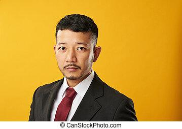 professionnel, asiatique, headshot, homme