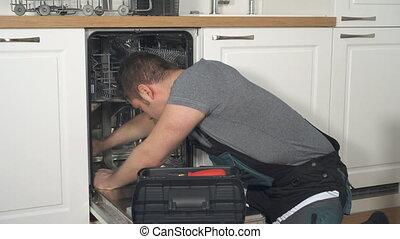 professionnel, conjugal, lave-vaisselle, salopette, bricoleur, kitchen., réparation