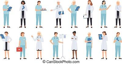 professionnel, femme, medics, personnel, caractères, médecins, monde médical, doctors., infirmière, infirmier, docteur, vecteur, infirmière, team., femmes, médecin