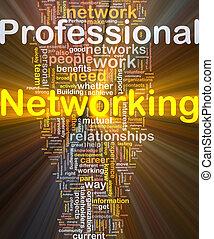 professionnel, incandescent, concept, gestion réseau, fond