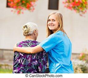 professionnel, personnes âgées soucient
