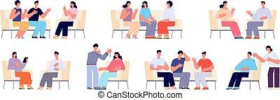 professionnel, psychotherapy., ensemble, vecteur, training., isolé, femme, total, groupe soutien, entraîneur, famille, thérapie, dessin animé, gens, aide, psychologie