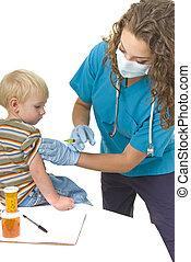 professionnel santé, injection, enfantqui commence à marcher, soin, donne