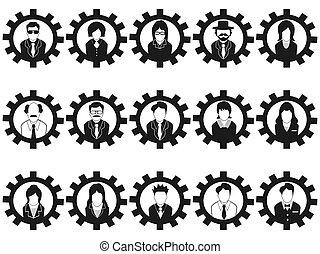 professionnels, avatar, engrenage, icônes