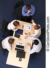 professionnels, -, cinq, brain-storming, réunion