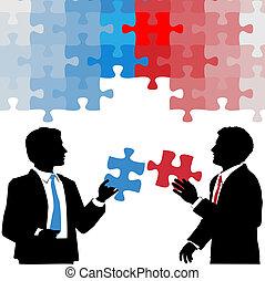 professionnels, collaboration, solution, prise, puzzle